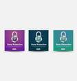 template social media banners with padlock and vector image