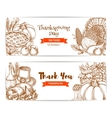 Thanksgiving greeting banners cards set vector image vector image