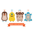 travel kids suitcases with animals icons vector image