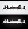 Utrecht skyline and landmarks silhouette
