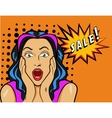 Woman with Sale sign in pop vector image vector image