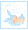 Baby shower little boy sleeping in a bunny costume vector image