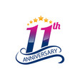 11 years anniversary logo template with a shadow vector image vector image