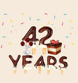 42 years happy birthday card vector image vector image