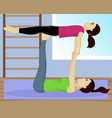 acro yoga with child in gym vector image vector image