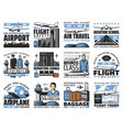 airport and aviation aircrew icons vector image vector image