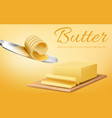 banner with stick of butter and knife vector image