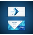 Blue arrow business card template vector image vector image