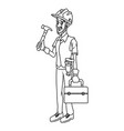 cartoon worker with tool vector image vector image