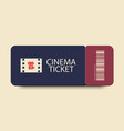 cinema ticket icon with shadow on light background vector image vector image