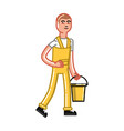 cleaning service man vector image vector image