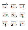 collection small people standing near big vector image
