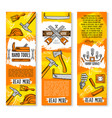 construction handy work tools banners vector image vector image