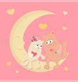cute cartoon cats in love on a swing with balloons vector image