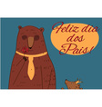 Daddy Bear Happy Fathers Day Portuguese vector image