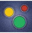 Denim texture with multicolored round holes