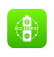 eco battery icon green vector image vector image