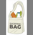 ecological shopping bag with grocery products vector image