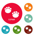 elephant step icons circle set vector image vector image