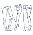 fashionable skinny denim jeans outline vector image vector image