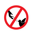 feeding birds is prohibited vector image