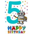 fifth birthday cartoon card vector image