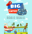 fishing boat and fish rod and tackle vector image vector image