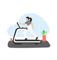 fitness gym young woman running on treadmill vector image vector image