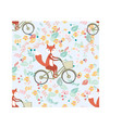 fox ride bicycle in flower background seamless vector image vector image