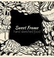 frame with sweet food milkshake cupcake cookie vector image vector image