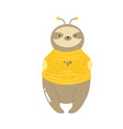 funny sloth in a bee costume vector image vector image