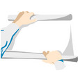 hands holding paper blank vector image vector image