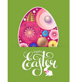 happy easter flyer template with egg flowers vector image