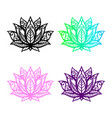 isolated lotus silhouette black flower icon yoga vector image vector image