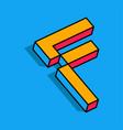 isometric f letter f 3d logo vector image