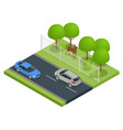 isometric fencing highway from wild animals vector image
