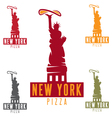 Liberty Statue with pizza in New York city design vector image
