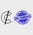 linear cent icon and distress zero vector image vector image