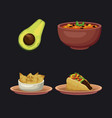 mexican food icons vector image