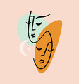 modern abstract line art faces minimalist twins vector image vector image