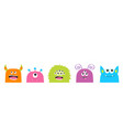 monster face set cute cartoon scary funny vector image vector image