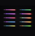 neon light gradient swords set vector image vector image
