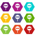 no entry sign icon set color hexahedron vector image vector image