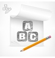 Pencil and letters in notepad vector image vector image