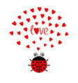 red round lady bug insect with hearts cute vector image vector image