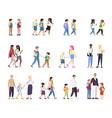 school children flat set multiracial vector image