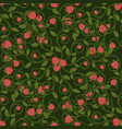 seamless pattern raspberry berry with leaves vector image vector image