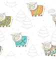 Seamless pattern with cute sheep in knitted vector image vector image