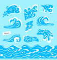 set of isolated sea or ocean wave splashes of vector image