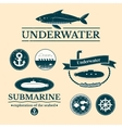 Set of labels with underwater vector image